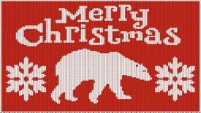 Hintergrund für die Stimmung des neuen Jahres Frohe Weihnachten Gestricktes Bild pullover Bär und Schneeflocken Schafft Hitze stock abbildung