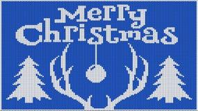 Hintergrund für die Stimmung des neuen Jahres Frohe Weihnachten Gestricktes Bild pullover Hörner Rotwild und des Weihnachtsbaums  lizenzfreie abbildung