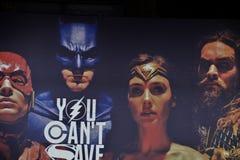 Hintergrund für Gerechtigkeits-League-Film Stockbild