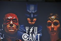 Hintergrund für Gerechtigkeits-League-Film Lizenzfreie Stockfotos