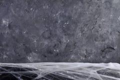 Hintergrund für Halloween Graue Beschaffenheit Spinne ` s Netz Stockfoto