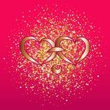 Hintergrund für Valentinsgruß mit zwei Herzen auf einem rosa Hintergrund Vektorillustration für Postkarte vektor abbildung