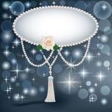 Hintergrund für die Einladung mit Perlensternen und einer Rose Lizenzfreies Stockbild