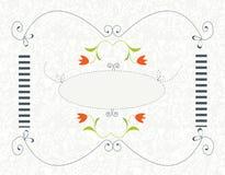 Hintergrund für die Heirat oder Einladung mit Blumenrahmen Stockfotografie