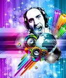 Hintergrund für internationales Discoereignis der Musik Stockbilder