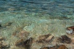 Hintergrund gemacht vom Azurblau- und BlauMeerwasser des Wellenfreien raumes Ansicht von oben Lizenzfreie Stockbilder