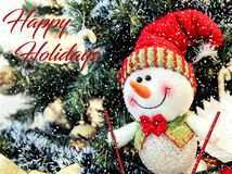 Hintergrund glückliche Schneemann und des Weihnachtsbaums Stockfotografie
