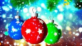 Hintergrund HD Loopable mit netten Weihnachtsbällen stock video footage