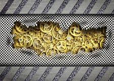 Hintergrund heftige Metallplatten mit einem Mechanismuseinheit Eisen, 3d vektor abbildung