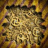 Hintergrund heftige Metallplatten mit einem Mechanismuseinheit Eisen, 3d lizenzfreie abbildung