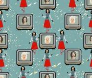 Hintergrund im Stil 50s TVset, Hollywood-Divas, Mode lizenzfreie abbildung