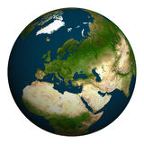Hintergrund ist mit Sternen voll Europa, Teil von Asien und von Afrika Stockbild