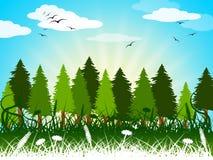 Hintergrund-Landschaft zeigt Sommerzeit und Hintergründe Stockbilder