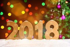 Hintergrund 2018, Lichtgirlanden, bokeh des neuen Jahres Lizenzfreie Stockfotografie
