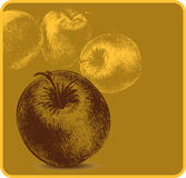 Hintergrund mit Äpfeln, Handzeichnung. Vektor illus Lizenzfreies Stockbild
