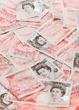 Hintergrund mit 50 Pfundsterling-Banknoten Stockbild
