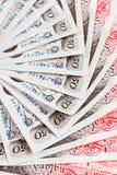 Hintergrund mit 50 Pfundsterling-Banknoten Stockbilder
