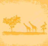 Hintergrund mit afrikanischer Fauna und Flora Stockbild