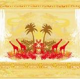 Hintergrund mit afrikanischer Fauna und Flora Lizenzfreies Stockbild