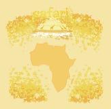 Hintergrund mit afrikanischer Fauna und Flora Lizenzfreies Stockfoto