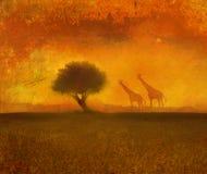 Hintergrund mit afrikanischer Fauna und Flora Stockfotos
