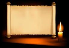 Hintergrund mit altem Papier und einer Kerze. Vektor Lizenzfreies Stockfoto