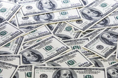Hintergrund mit Amerikaner hundert Dollarscheine Lizenzfreie Stockbilder