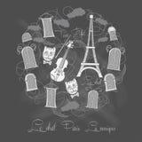 Hintergrund mit Ausflug Eiffel auf chalkrboard Lizenzfreie Stockfotos