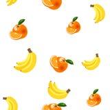Hintergrund mit Bananen, Orangen und Zitronen Lizenzfreie Stockfotos