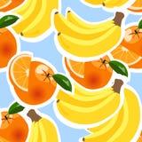 Hintergrund mit Bananen, Orangen und Zitronen Stockbilder