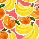 Hintergrund mit Bananen, Orangen und Zitronen Stockfotografie