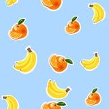 Hintergrund mit Bananen, Orangen und Zitronen Lizenzfreies Stockfoto