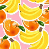 Hintergrund mit Bananen, Orangen und Zitronen Stockfotos