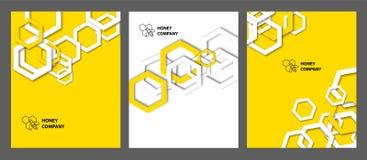 Hintergrund mit Bienenwaben Stellen Sie von den templats für Abdeckungen, Flieger, Fahnen und Plakate ein stock abbildung