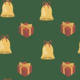 Hintergrund mit Bildern von Glocken und von Geschenken Lizenzfreies Stockbild