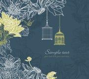 Hintergrund mit Birdcage und Blumen Lizenzfreie Stockfotos