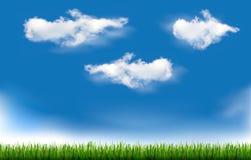 Hintergrund mit blauem Himmel und Gras.