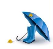 Hintergrund mit blauen Regenschirm- und Regenstiefeln Stockbilder