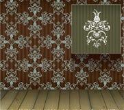 Hintergrund mit Blumendekoration und hölzernem Fußboden Stockbild