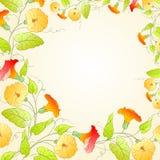 Hintergrund mit Blumenkranz für romantisches Design Stockbild