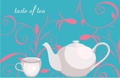 Hintergrund mit Blumenverzierung, Teekanne und Cup Stockfotografie