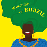 Hintergrund mit brasilianischer Frau im Turban Vektor Lizenzfreie Stockfotos