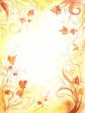 Hintergrund mit braunen Blättern. Stockbild