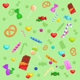 Hintergrund mit bunter verschiedener Süßigkeit Stockbilder