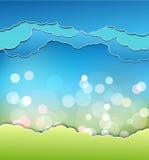 Hintergrund mit Dekoration: Sonne, blauer Himmel und Wolken Stockbild