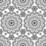 Hintergrund mit Dekorationseinzelteilen buta Spitze schwarzen mehndi Blumenhennastrauches nahtlosen in der indischen Art Lizenzfreie Stockfotos