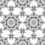 Hintergrund mit Dekorationseinzelteilen buta Spitze Schwarzweiss--mehndi Hennastrauches nahtlosen auf weißem Hintergrund in der i Lizenzfreie Stockfotografie