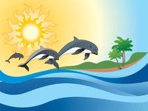 Hintergrund mit Delphin Lizenzfreies Stockfoto