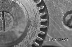 Hintergrund mit dem Aufschrift GESCHÄFT Schwarzer weißer Hintergrund stockfotografie