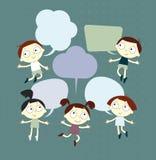 Hintergrund mit dem Bild von lustigen Kindern und Rede sprudeln Stockfoto